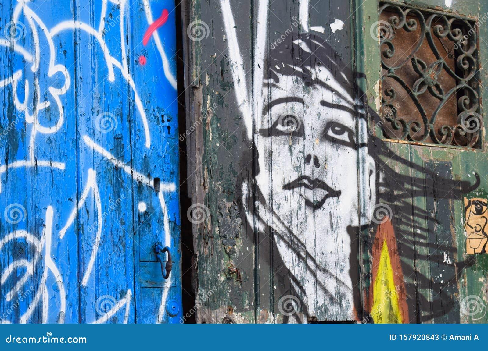Street art in Lisbon`s Alfama District