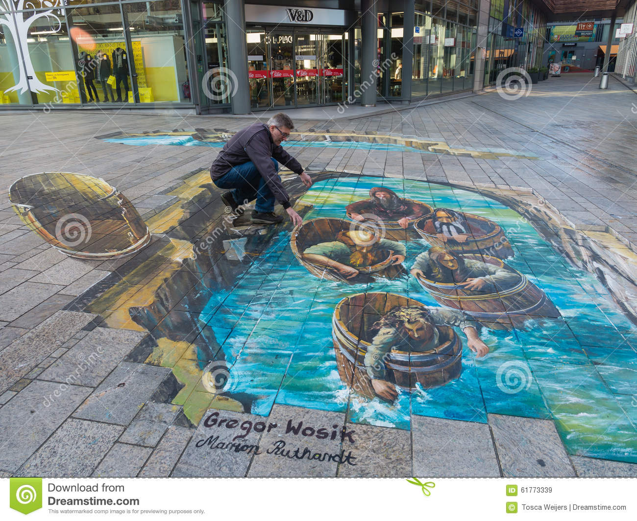 illusion optical street painting showing almere 3d oct editorial netherlands power tubs wooden preview