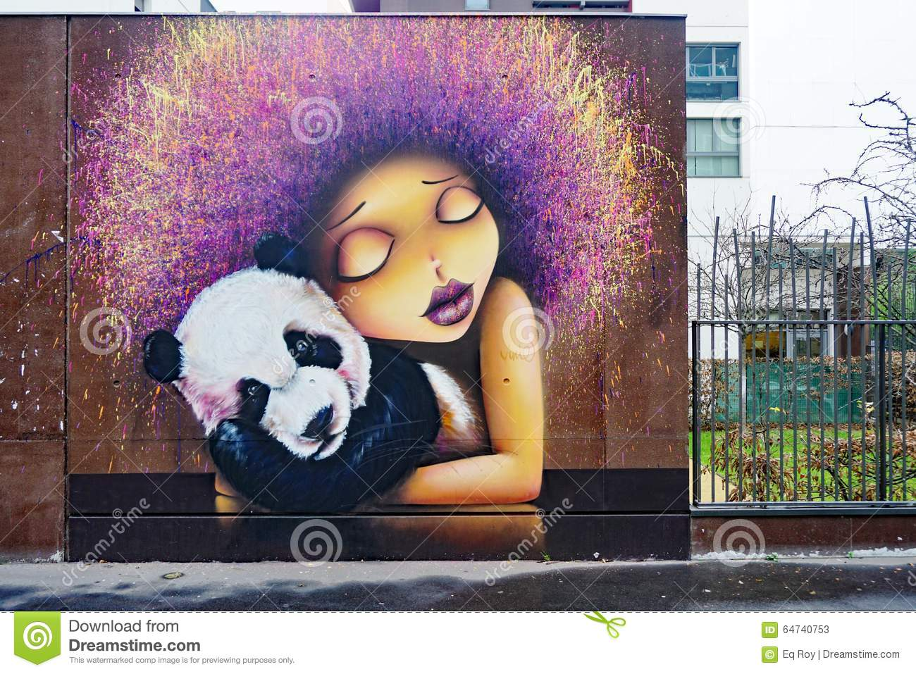 Street Wall Painting - Street art wall painting of a girl with a panda in paris