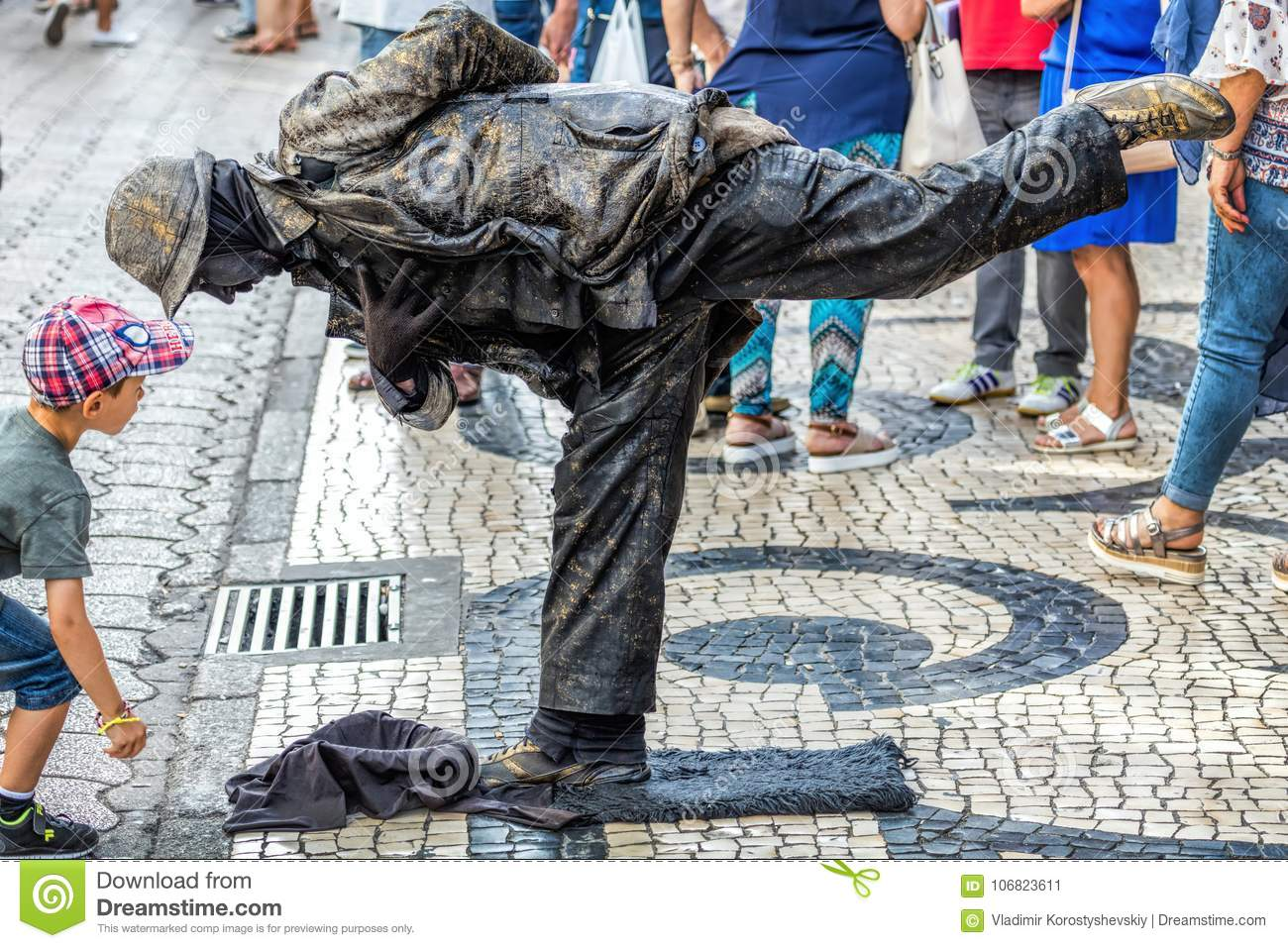 Street artist performing as a `living statue`