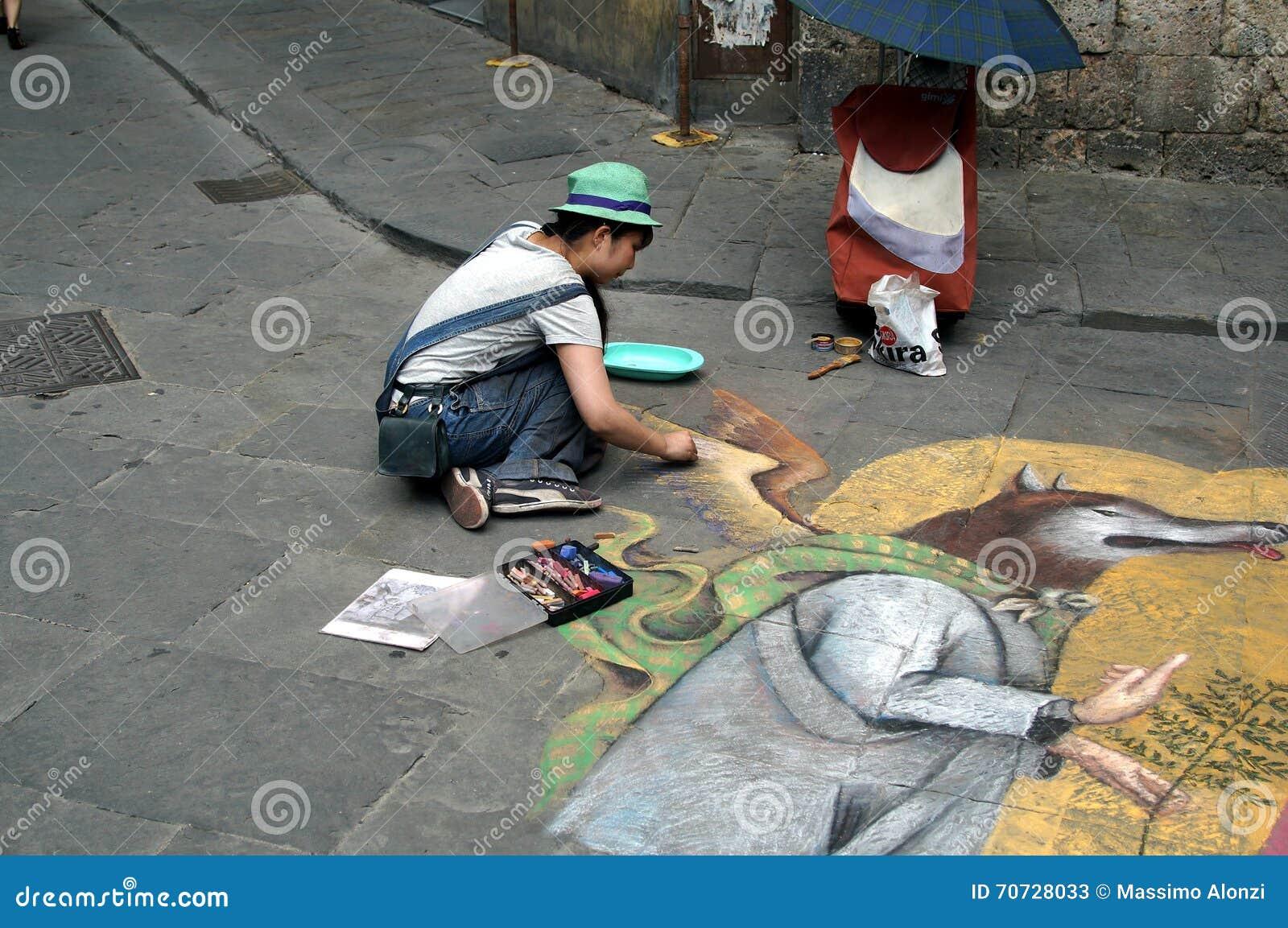 Street artist in Siena