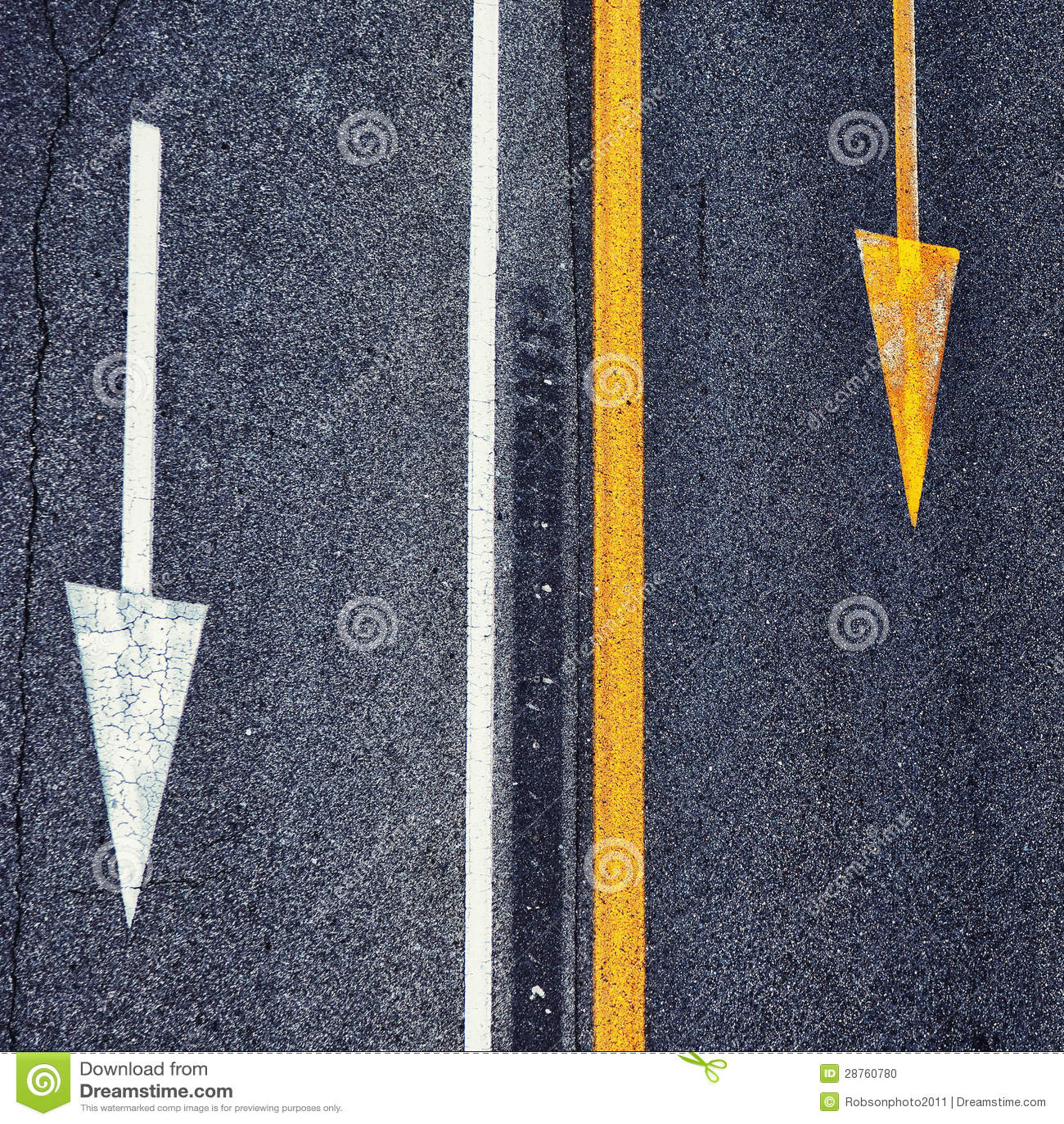 Street Asphalt Sign Arrows Stock Photo - Image: 28760780