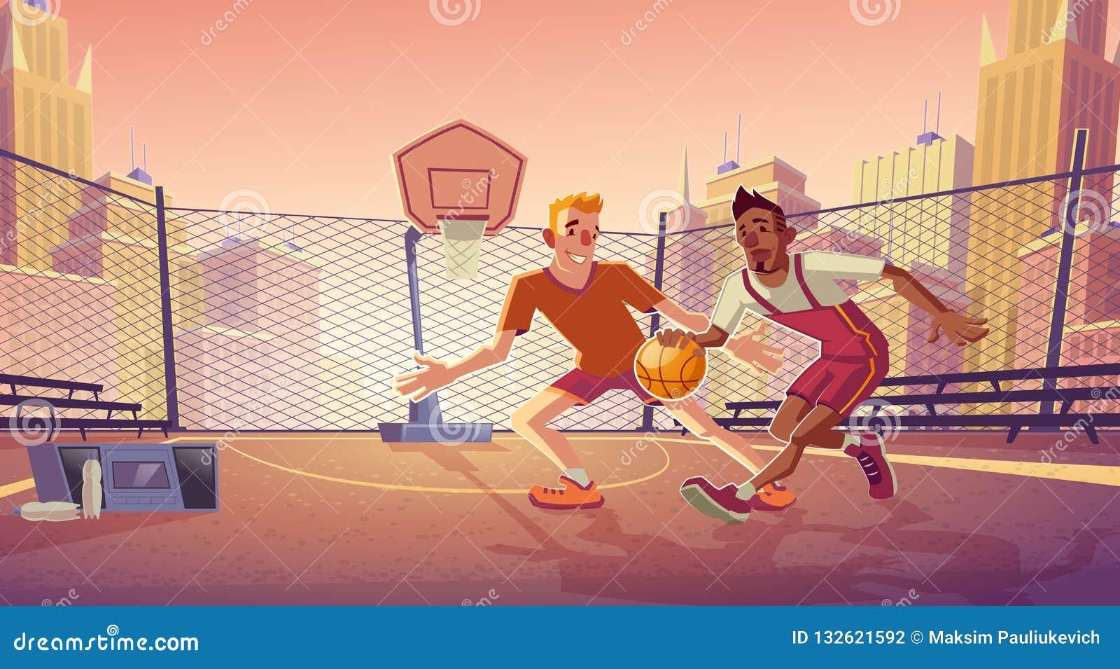 Street basketball on city outdoor court vector