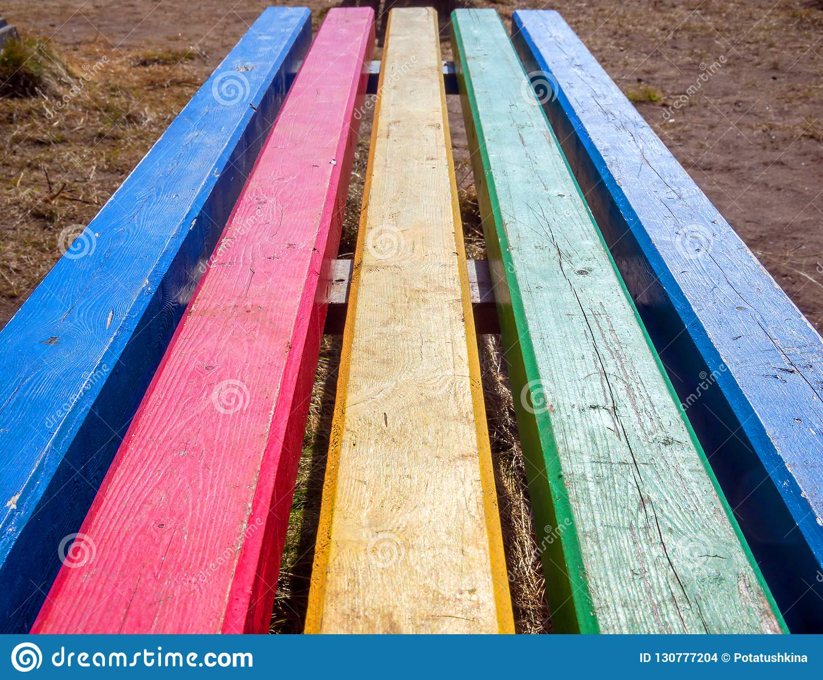 Street bench from multi-colored boards