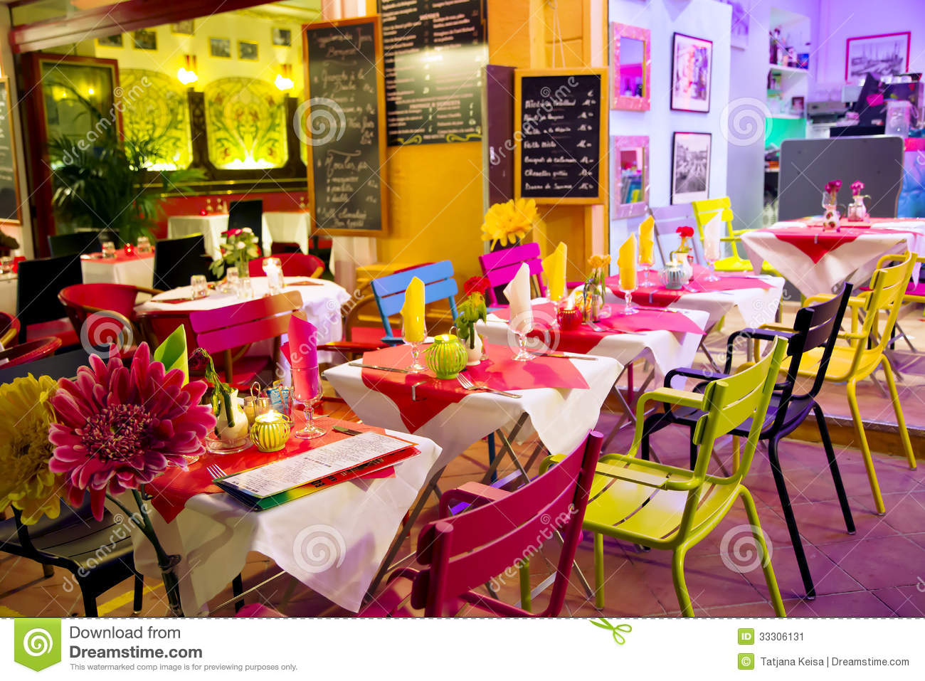 Street Bright Coloured Cafe Stock Image Image Of Dining