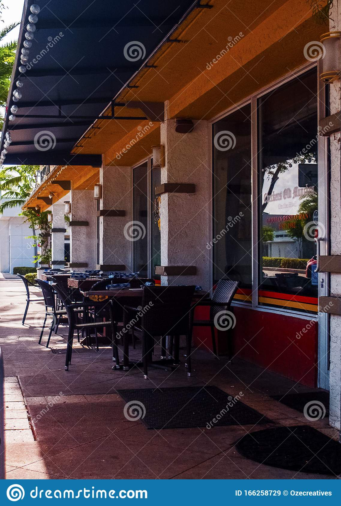 Street Cafe Outside Seating And Entrace To Restaurant Stock Image Image Of Furniture Table 166258729