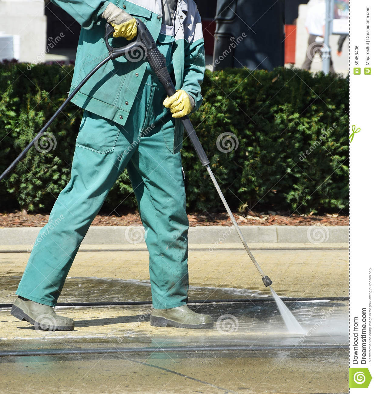Street cleaner is working stock photo. Image of worker - 59458406