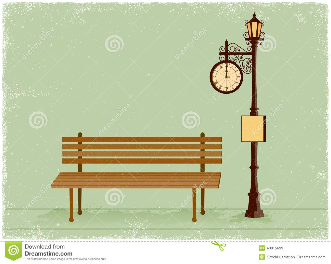 ... Clock And Lamp Post With Park Bench Stock Vector - Image: 40015699