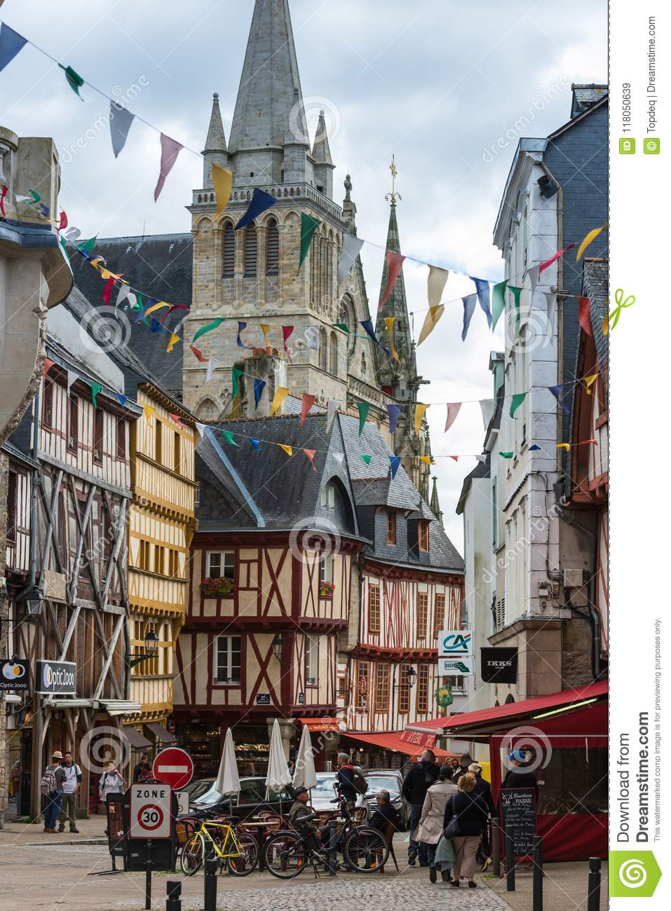 FRANCE, VANNES - SEPTEMBER 22  street with colorful houses in a medieval  city of Vannes Brittany on September 22, 2015 b2213180f1cc