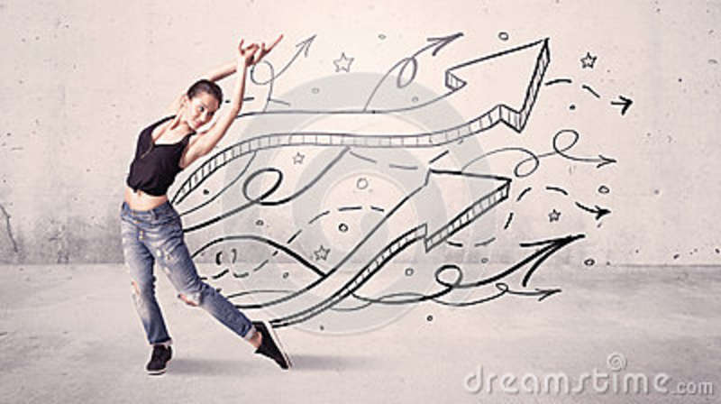 Street Dancer With Arrows And Stars Royalty-Free Stock ...