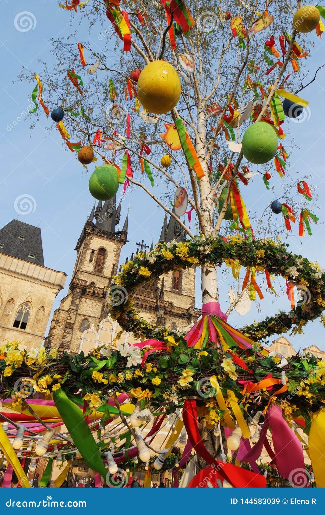 Street Easter market in Prague