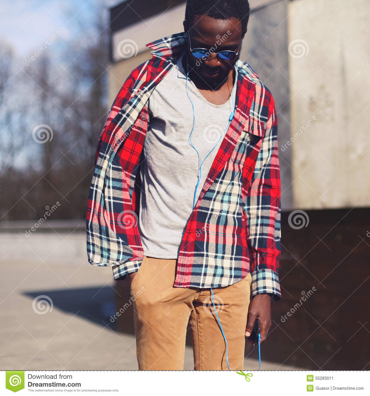 Street fashion concept - portrait of stylish young african man