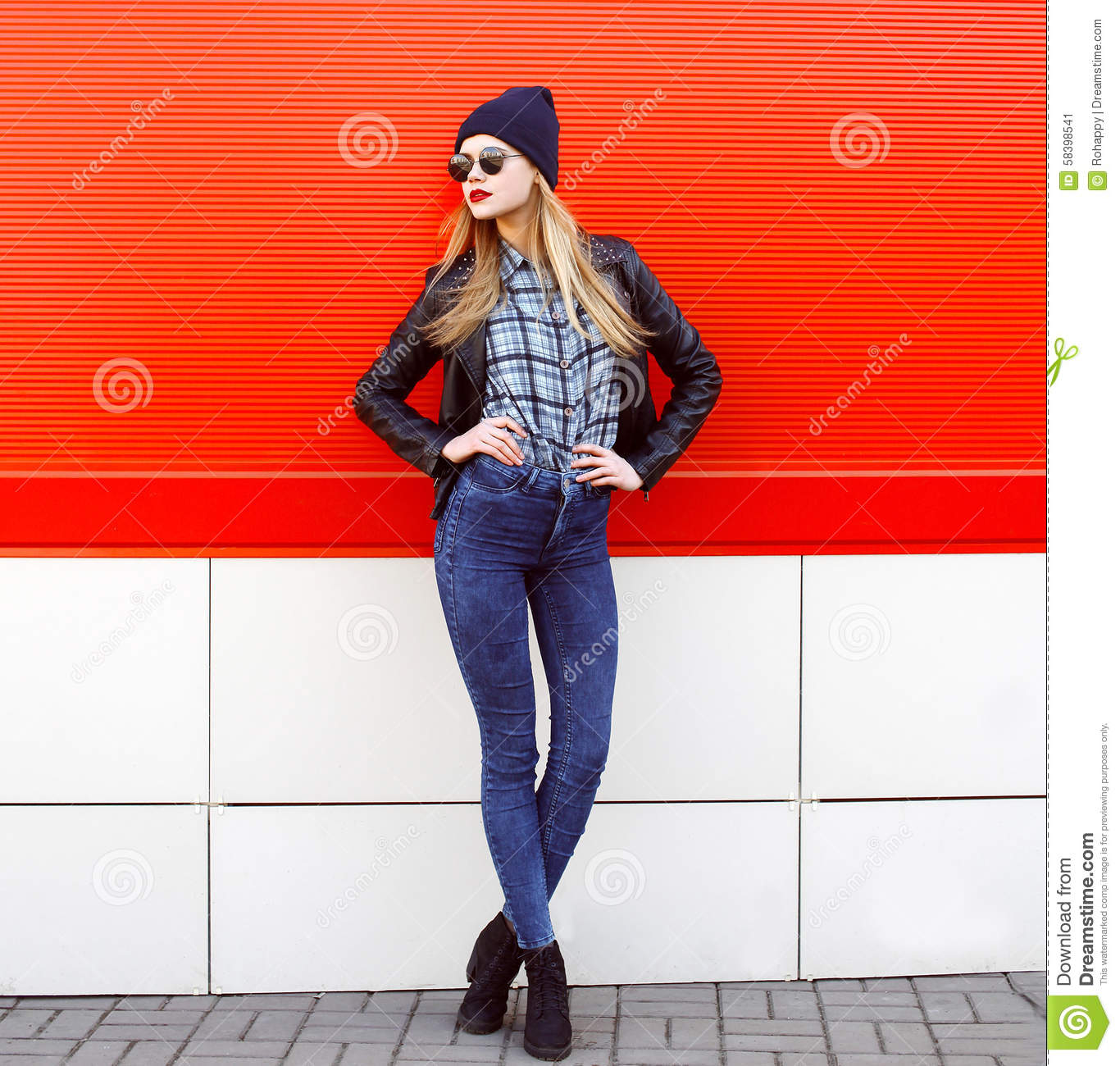 Street Fashion Concept Pretty Young Slim Woman Stock Image Image 58398541