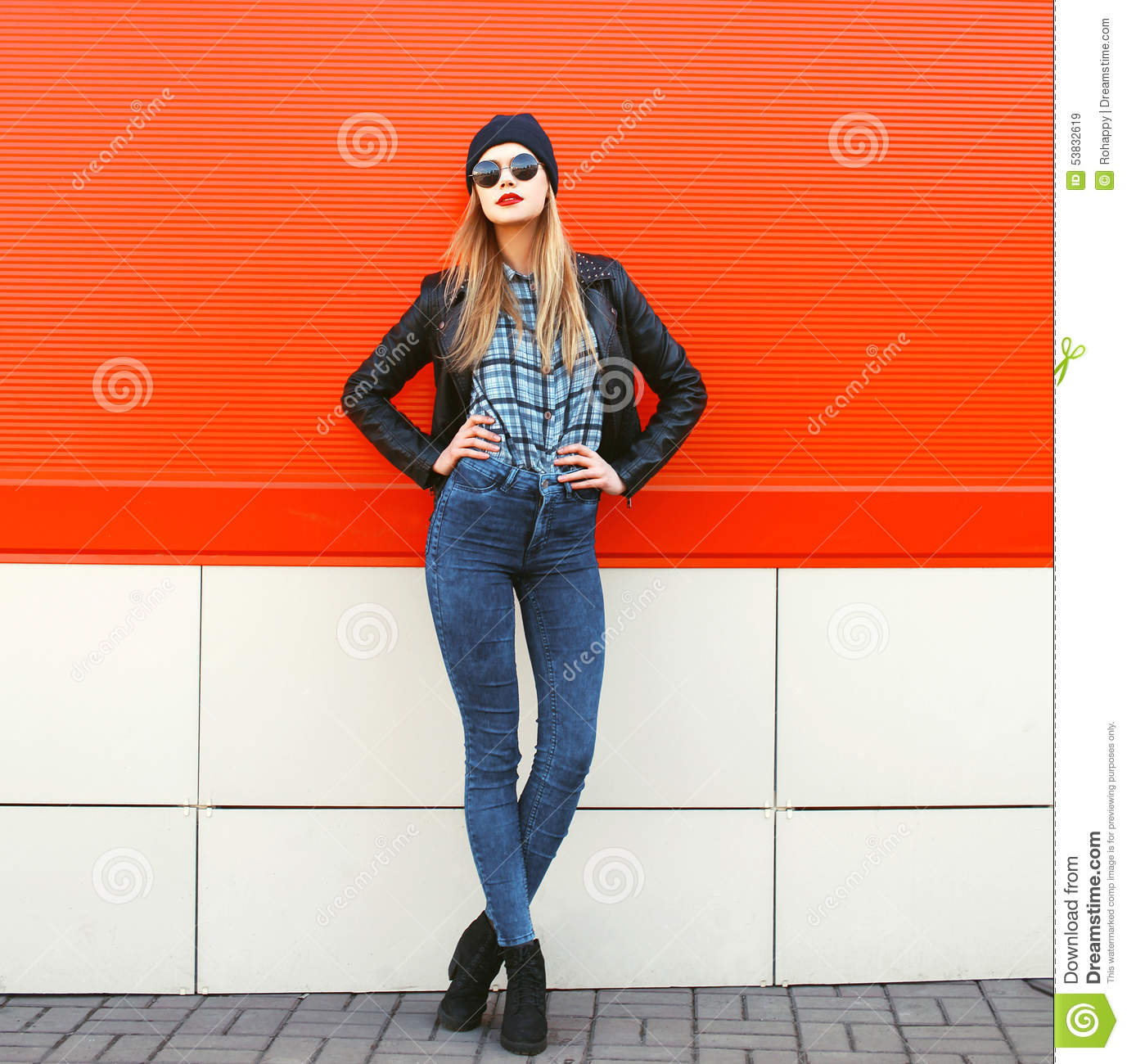 Street Style Black Woman: Stylish Hipster Woman In Rock
