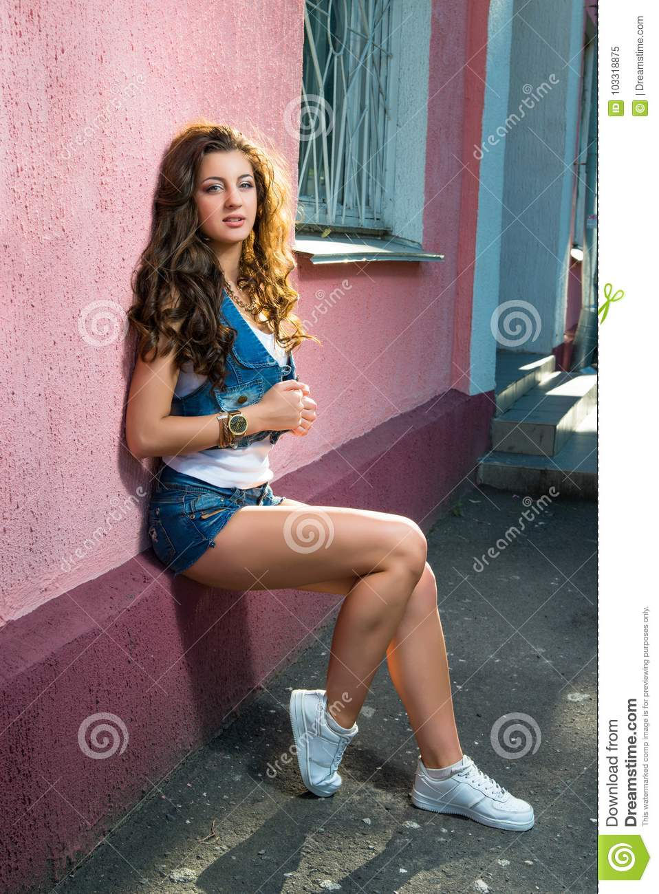 Street Fashion Of Contemporary Youth Girl Sexy Brunette Girl Wit
