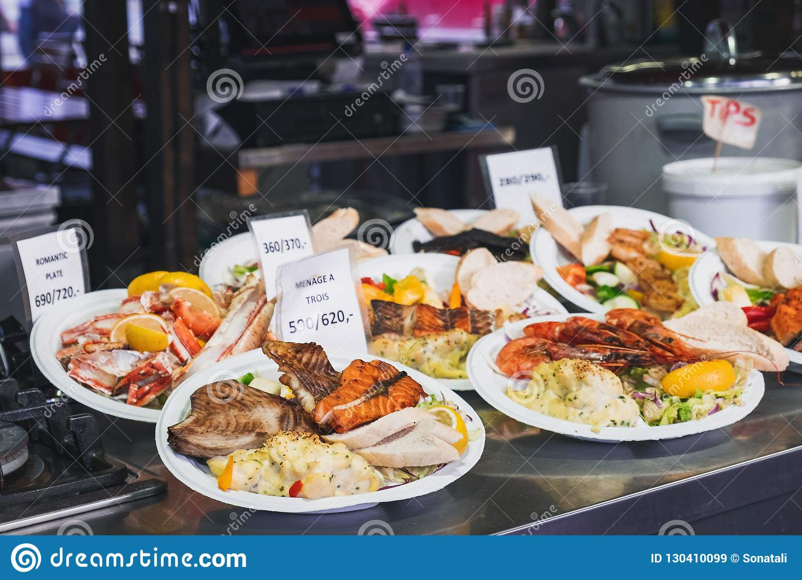 Street Food At Bergen Fish Market, Norway Stock Image
