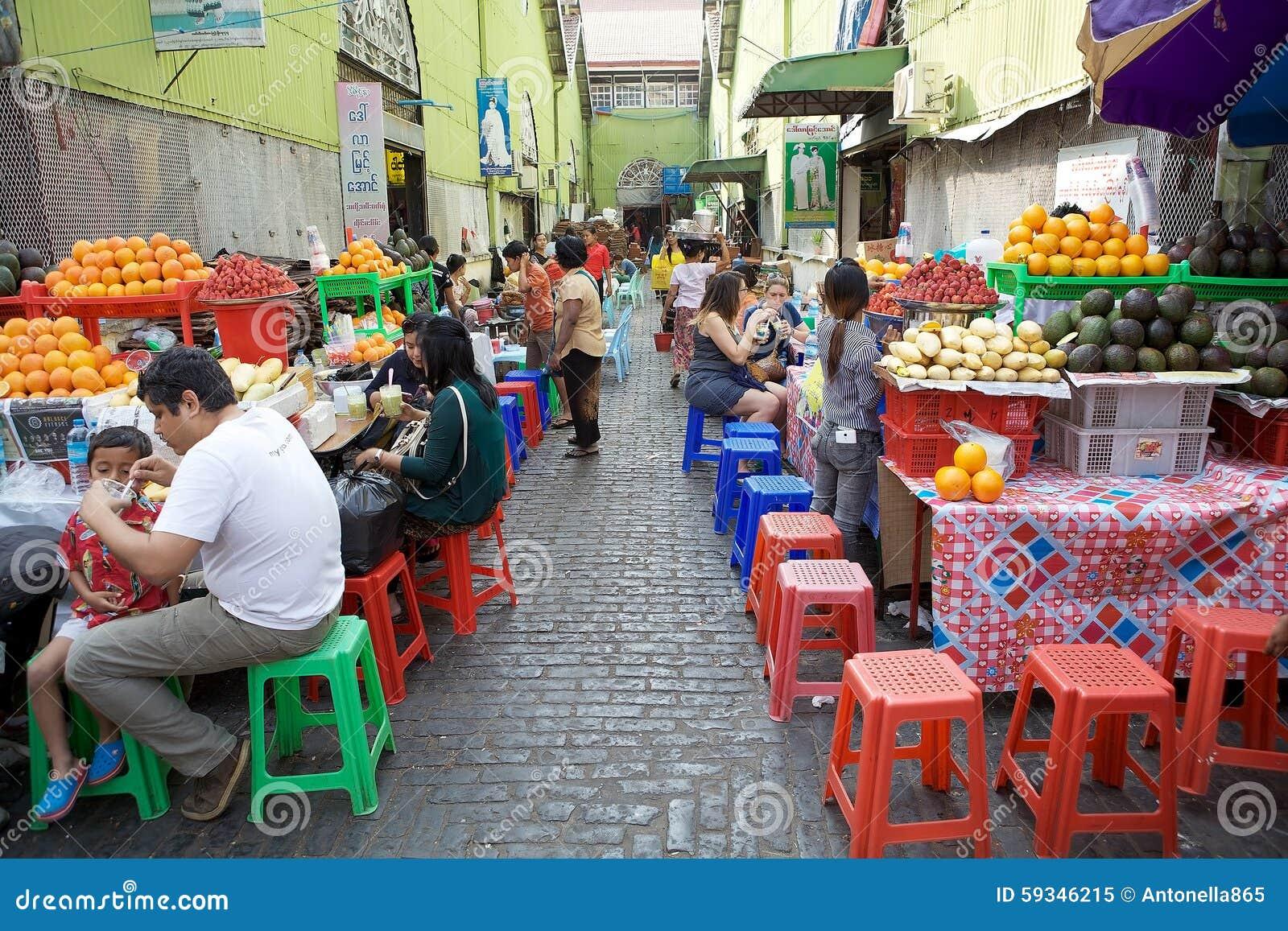 Street Food At The Bogyoke Aung San Market Yangon Myanmar