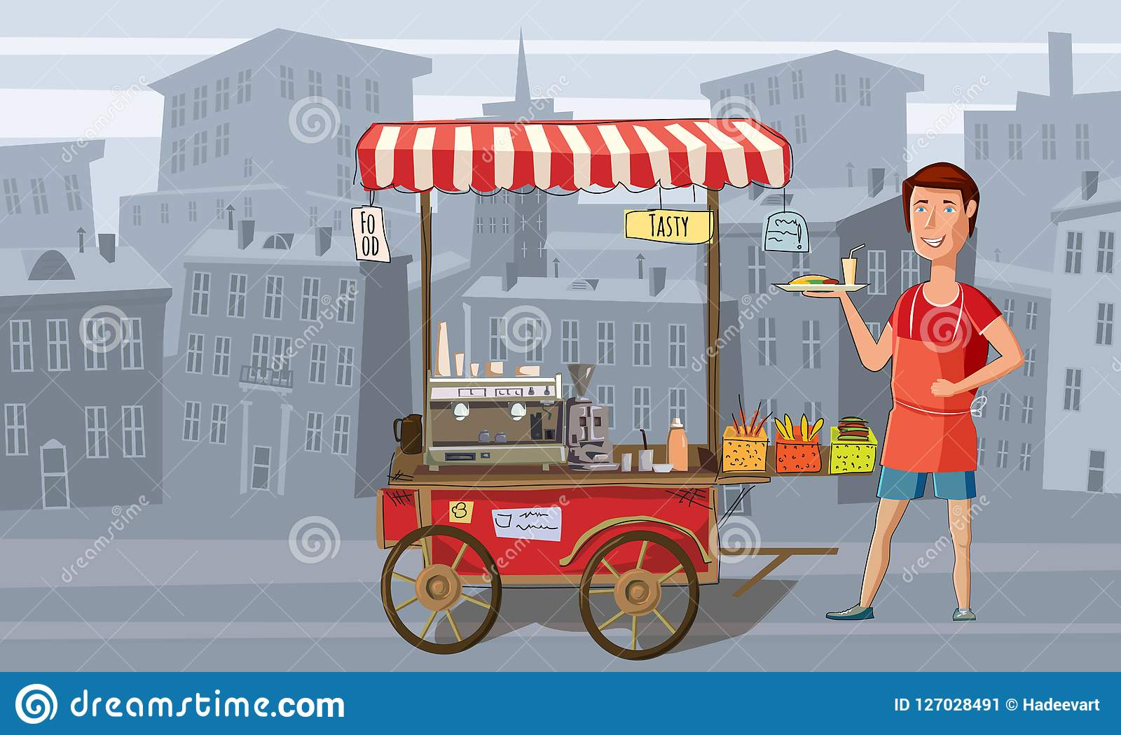 Street food, coffee, trolley with the seller, fast food, urban landscape background, vector, banner, cartoon style. Street food, cart with the seller Stock Illustration