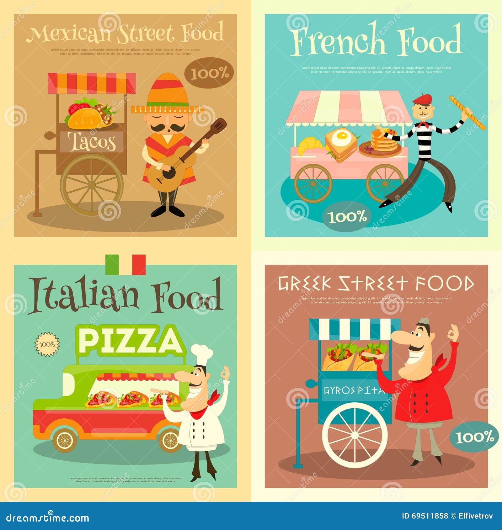 street food festival posters set stock vector illustration of