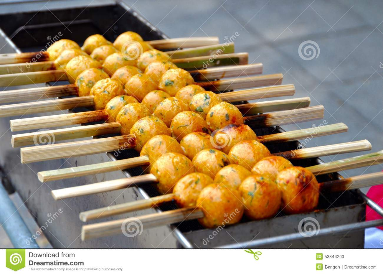 Street food grilled fish balls stock photo image 53844200 for Chinese fish balls