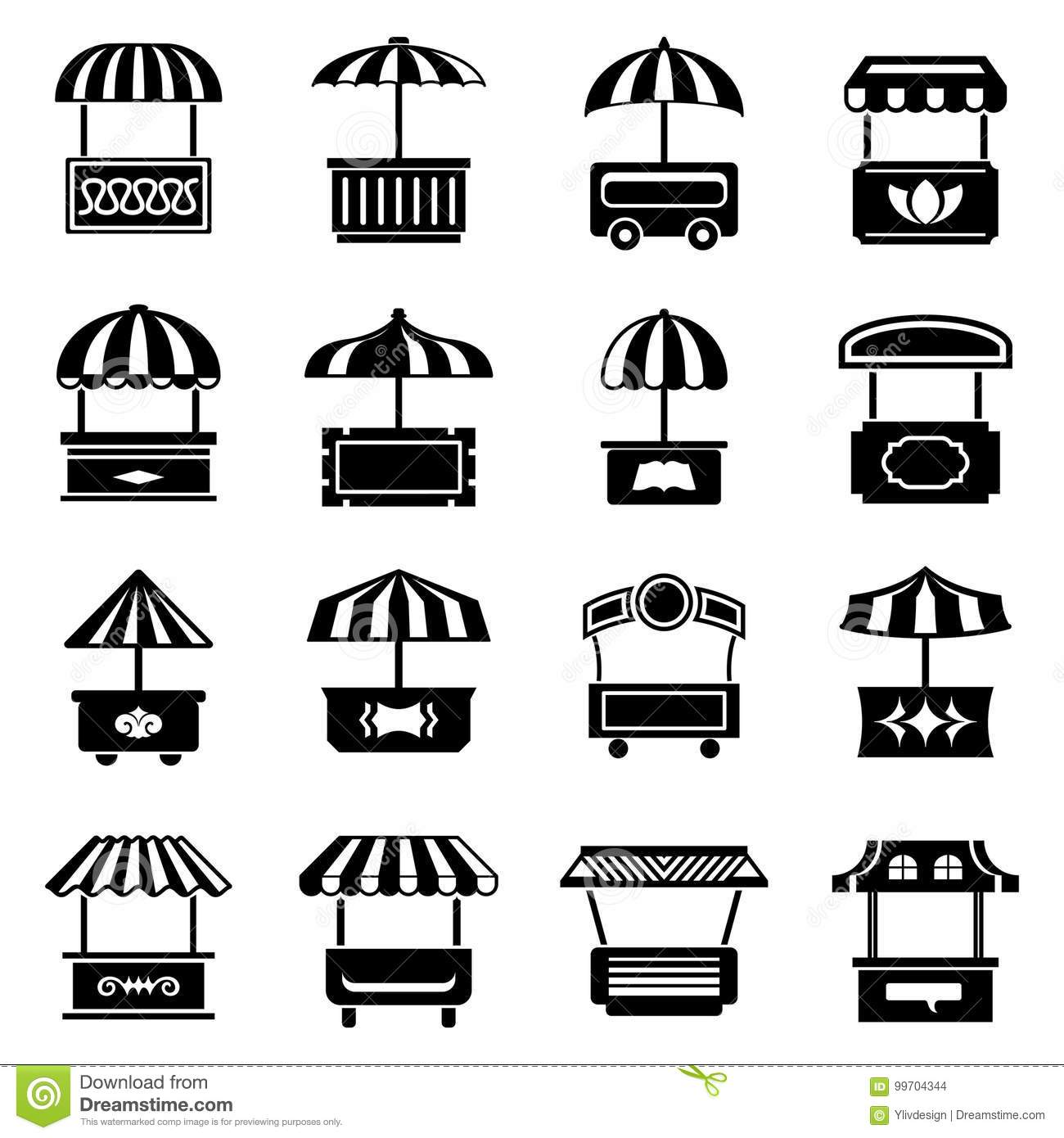 street food kiosk icons set simple style stock vector