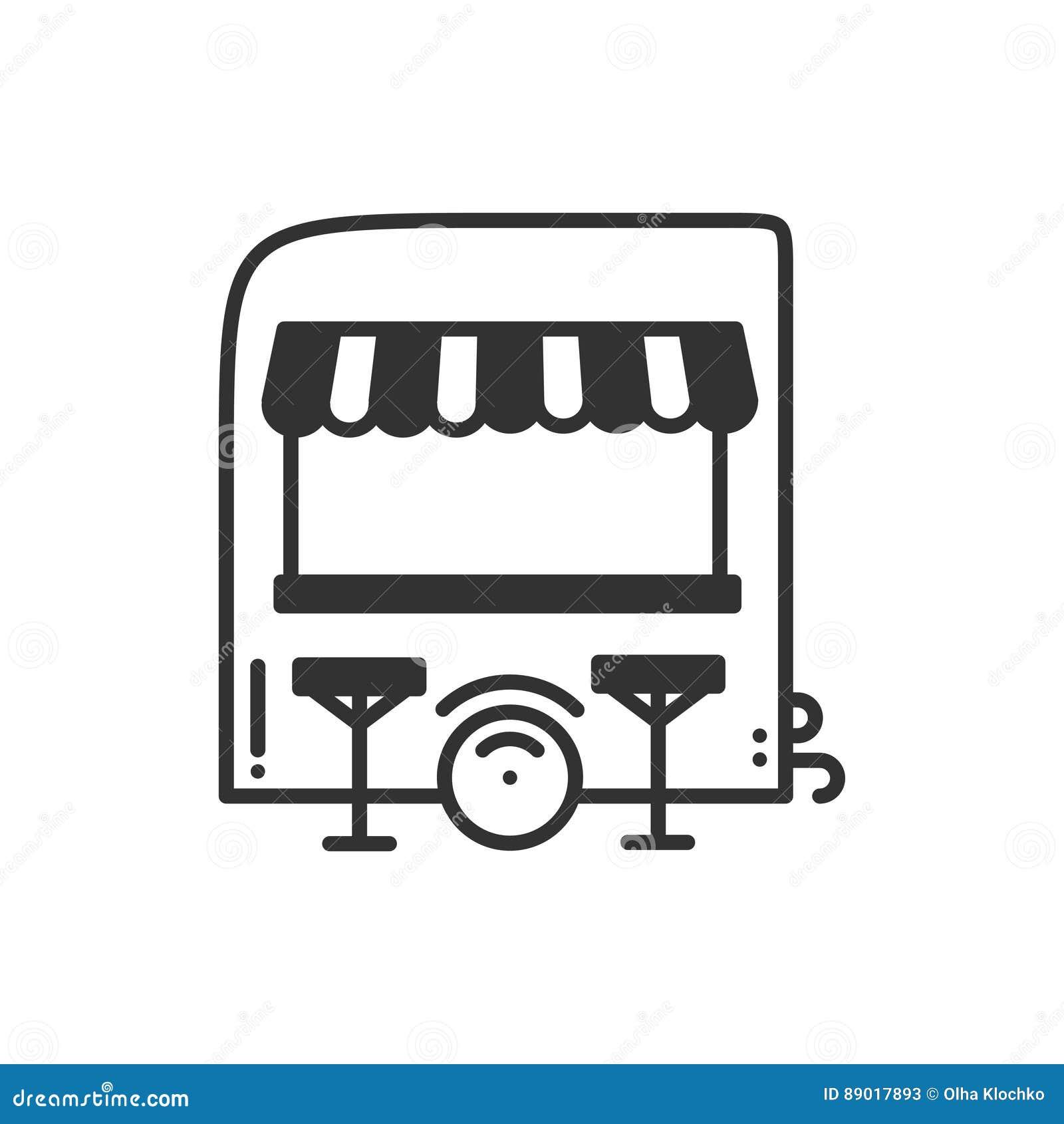 Street Food Retail Thin Line Icon  Food Trolley, Truck