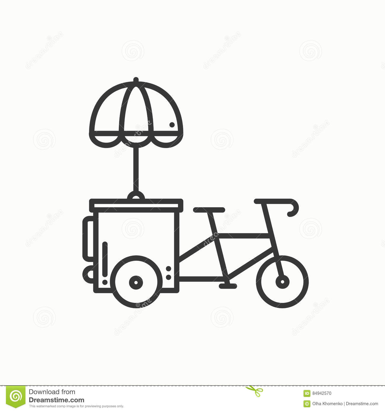 Street Food Retail Thin Line Icon  Tricycle Trade Cart  Fast