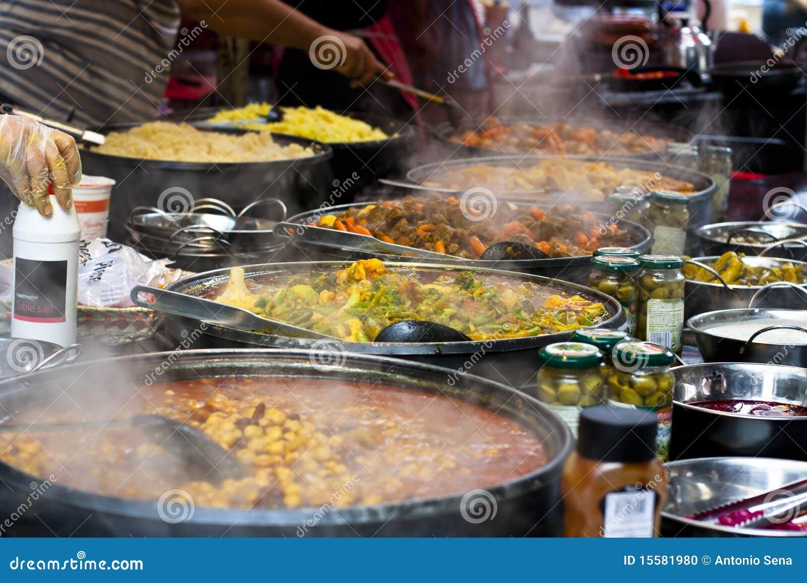 Street Food: Thai Kitchen Spicy Buffet Stock Photo - Image ...