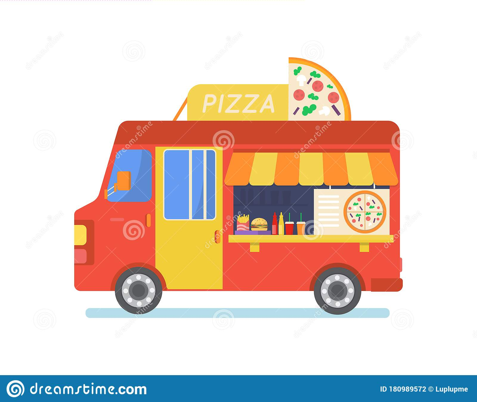 Street Food Truck Set Vector Illustration Cartoon Van Selling Chinese Streetfood Or Pizza Kebab In Market Coffee Icons Stock Vector Illustration Of Sale Isolated 180989572