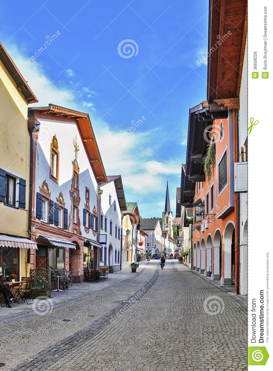 Street in garmisch partenkirchen germany royalty free for Designhotel garmisch