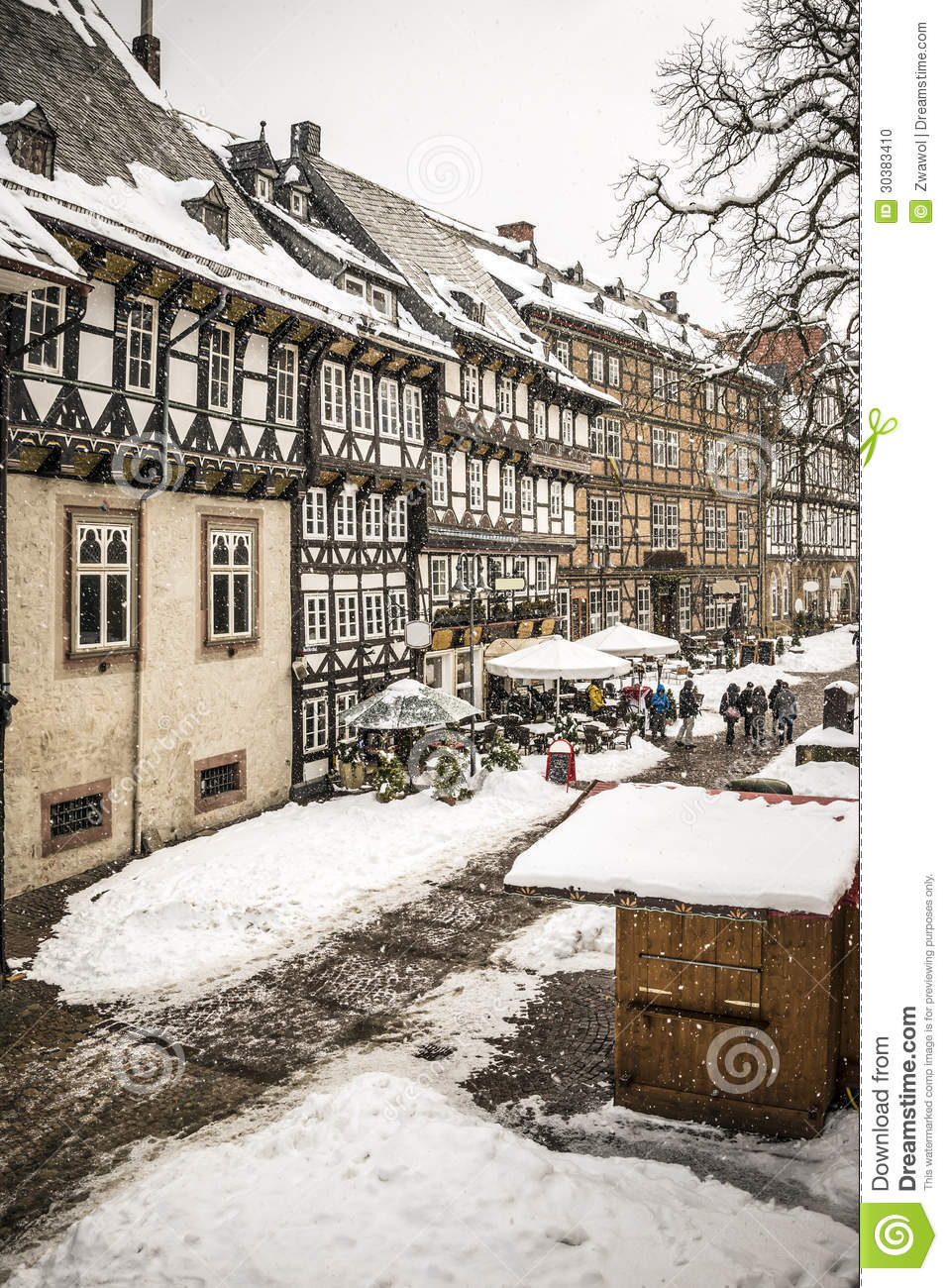 Street with half timbered houses in goslar germany stock for Design hotel goslar