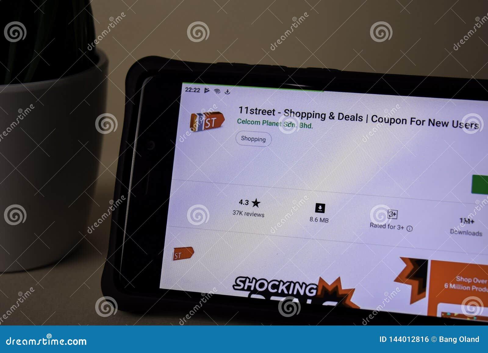 11street het winkelen & Overeenkomsten dev toepassing op Smartphone-het scherm Coupon voor nieuwe Gebruiker