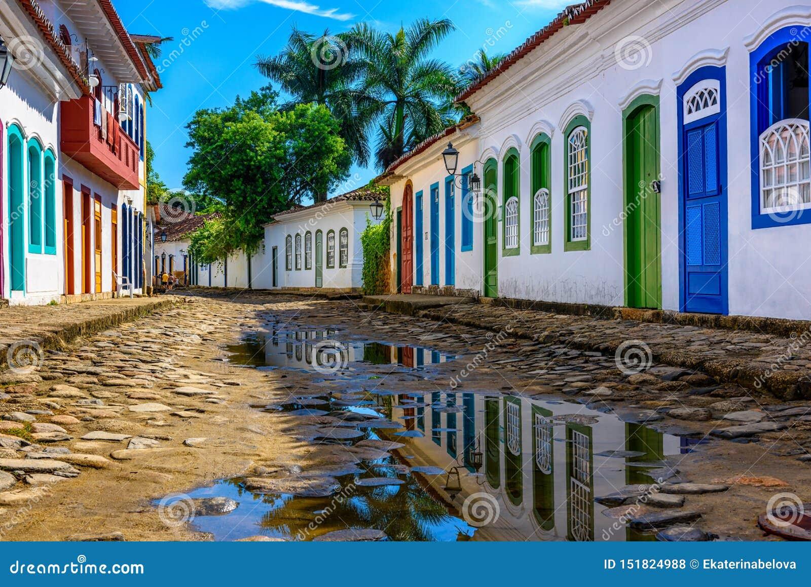 Street of historical center in Paraty, Rio de Janeiro, Brazil.