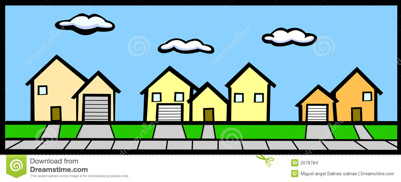 Street with houses stock vector illustration of suburbs for Free house photos