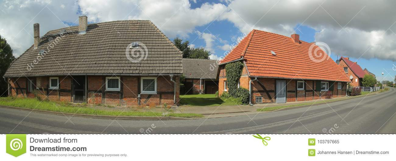 Street with houses, listed as monuments, in Willerswalde, Germany