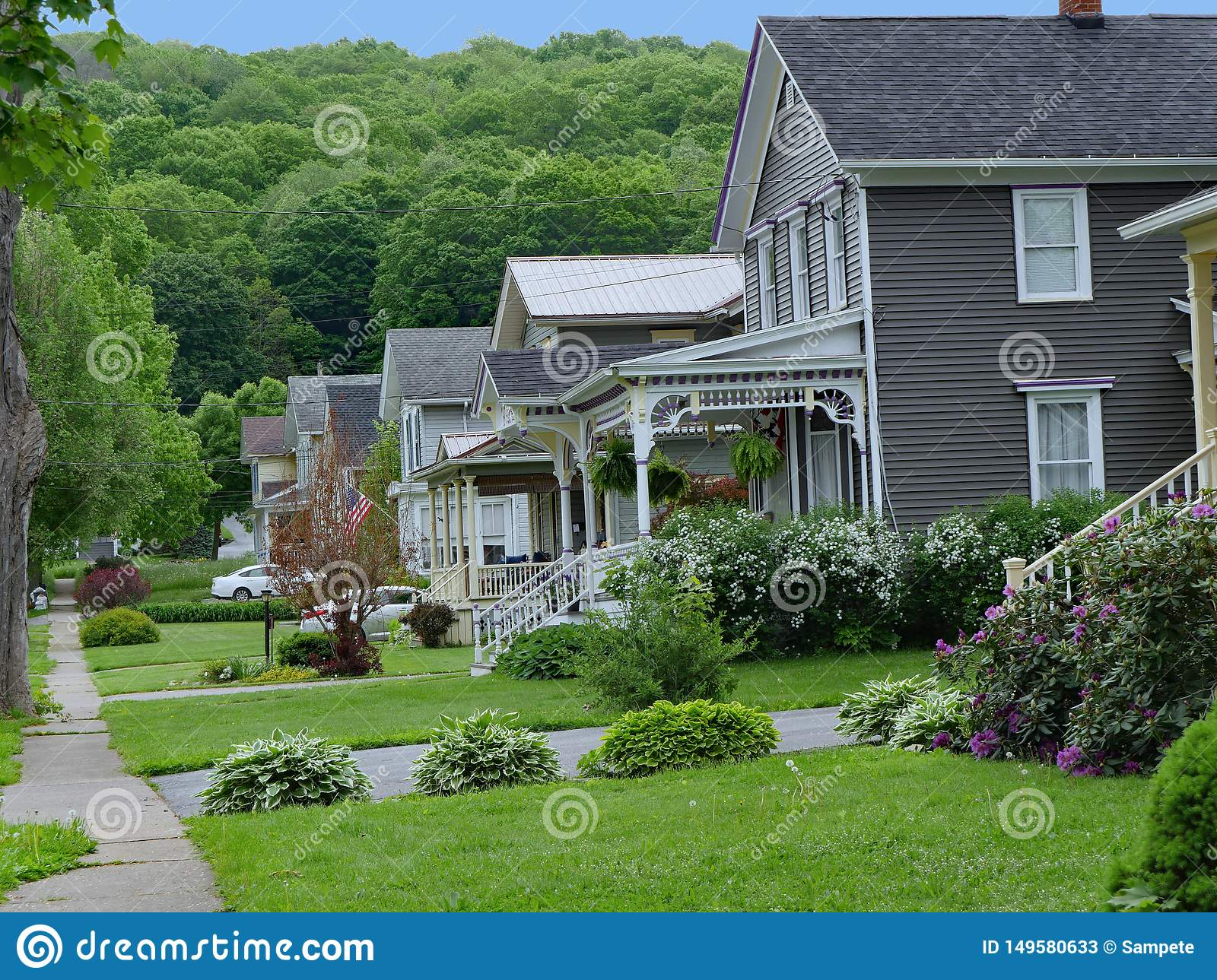 Street Of Houses In A Small American Town Stock Image Image Of