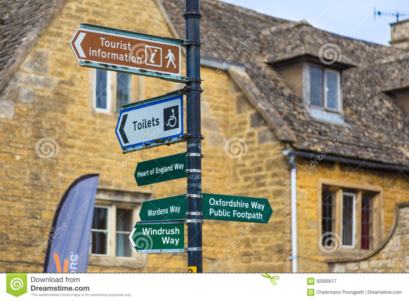 Street And Information Signs At Bourton On The Water, England