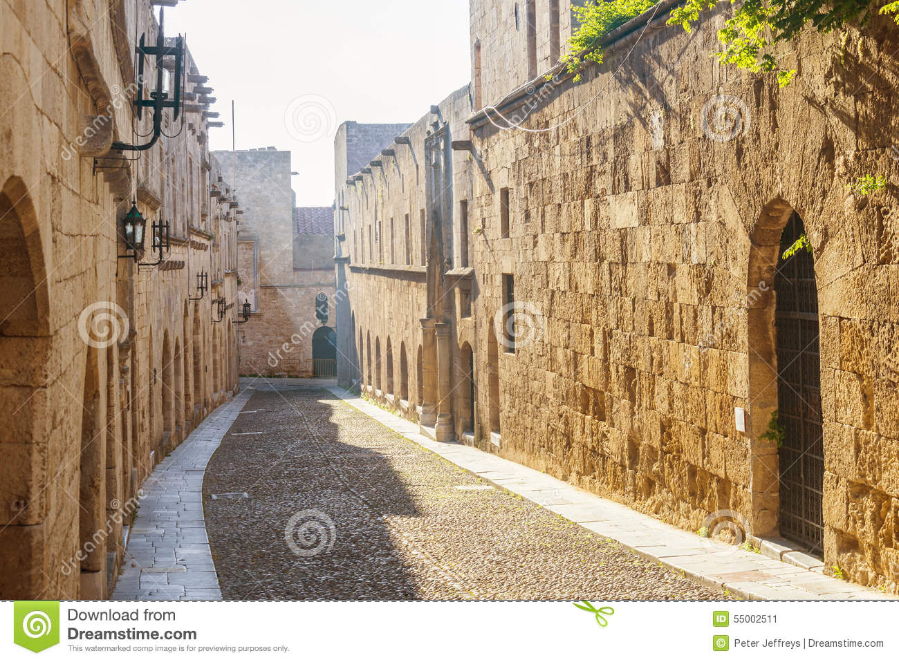 Street Of The Knights In Rhodes, Greece Stock Photo ...