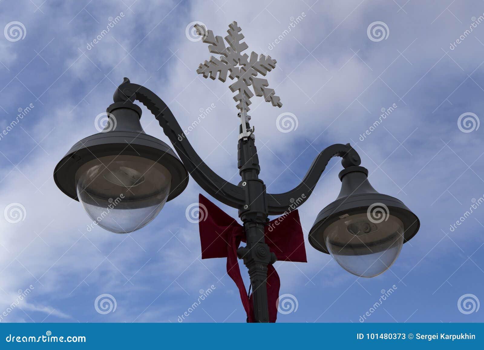 Street Lamp With Christmas Symbols Stock Image Image Of Snowflake