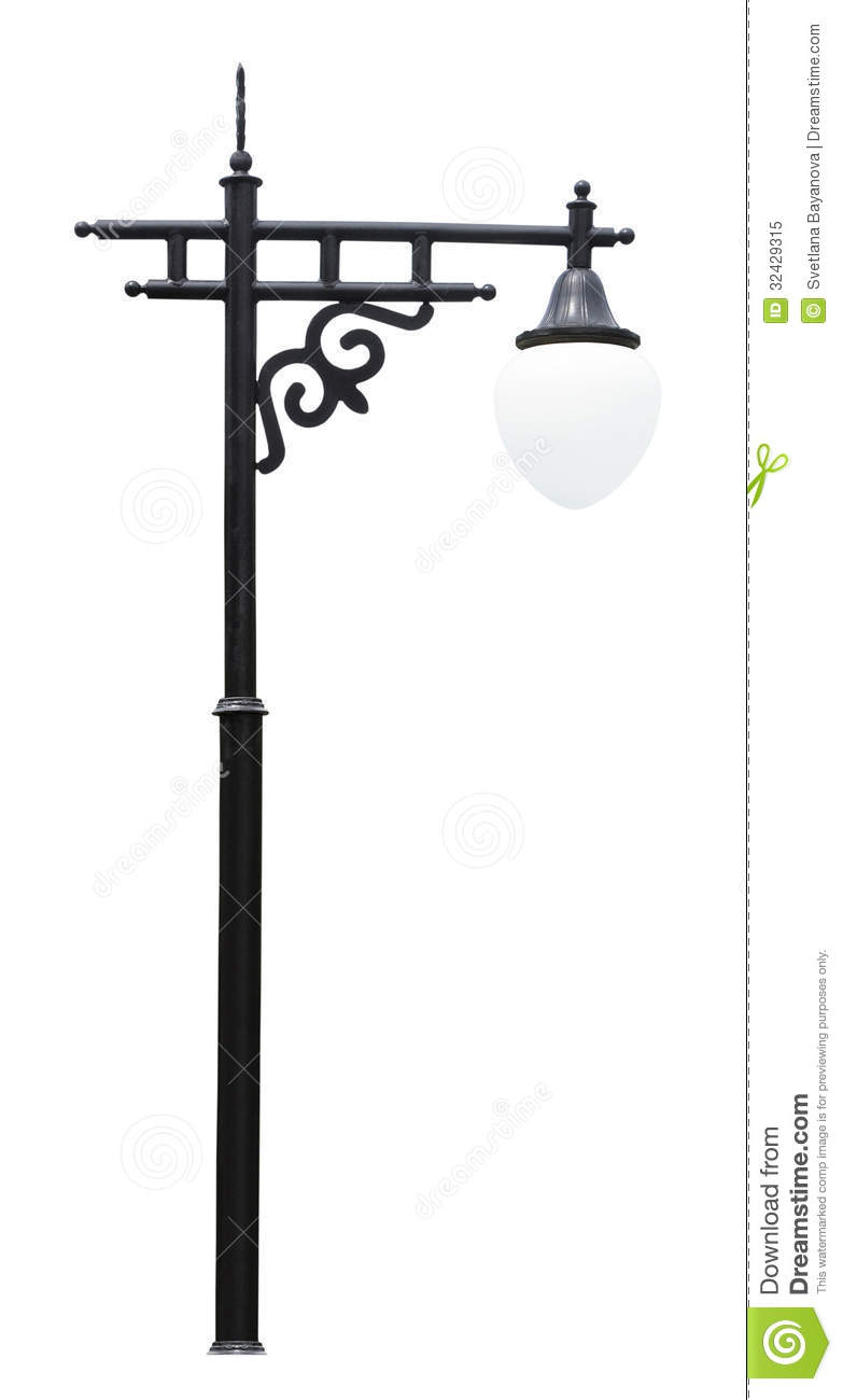 photo lamp street isolated post on decorative stock background white