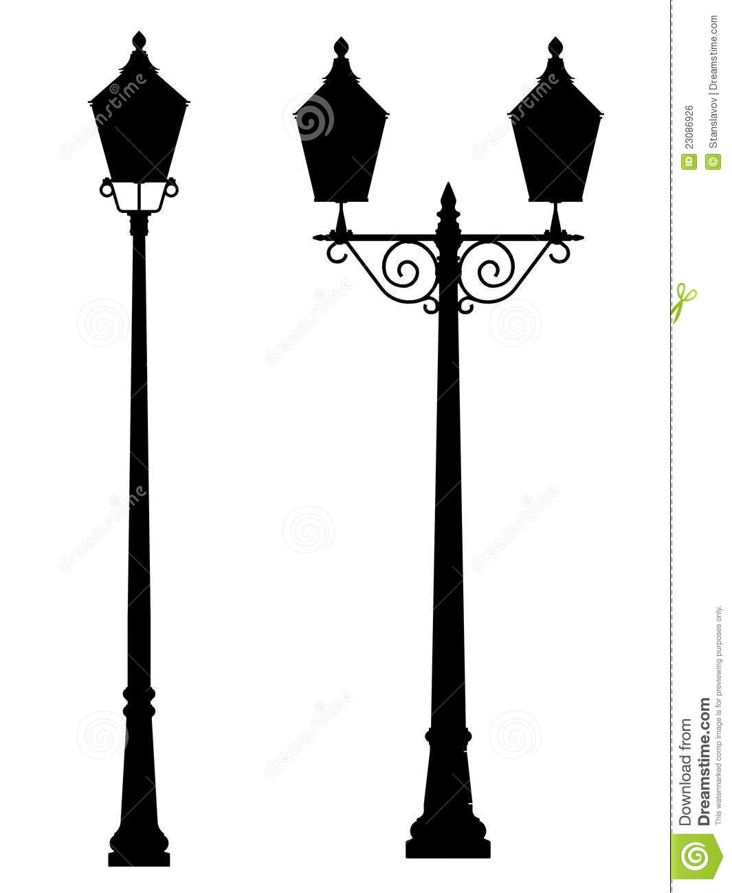 Street Lamp Light Outline Silhouette Stock Illustration