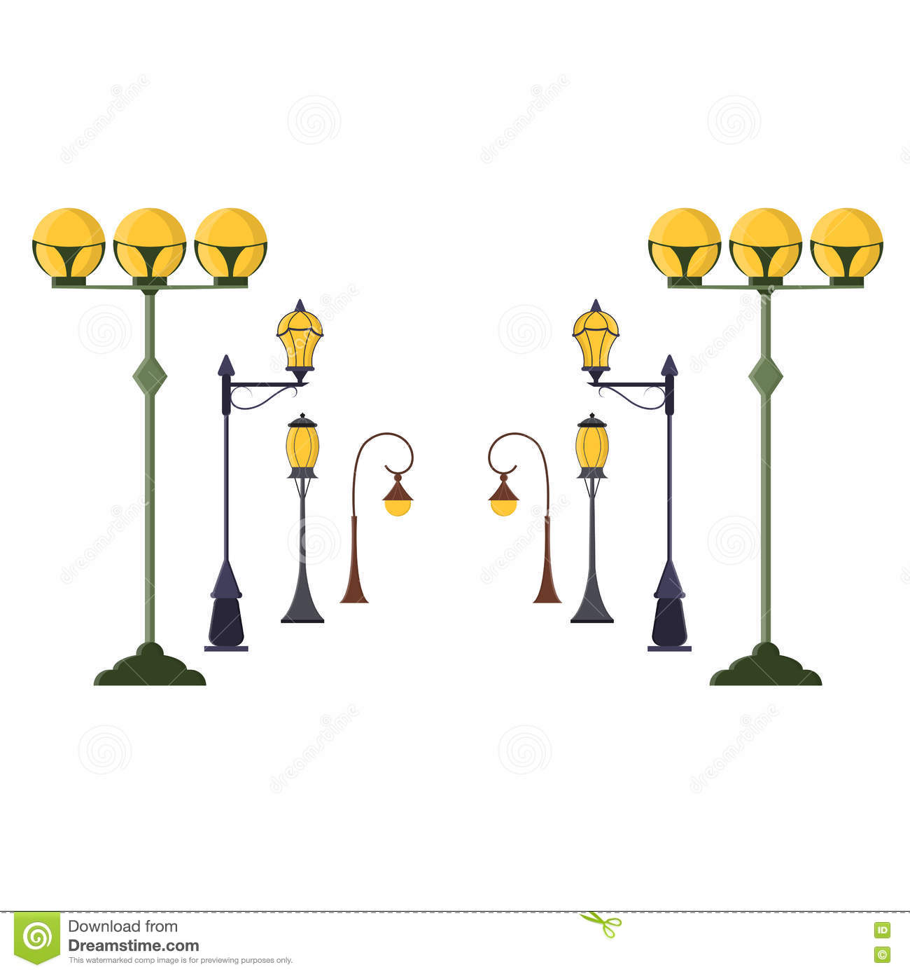 Street Lamp Post Set. Vector Stock Vector - Illustration of ... for Street Lamp Post Vector  181obs