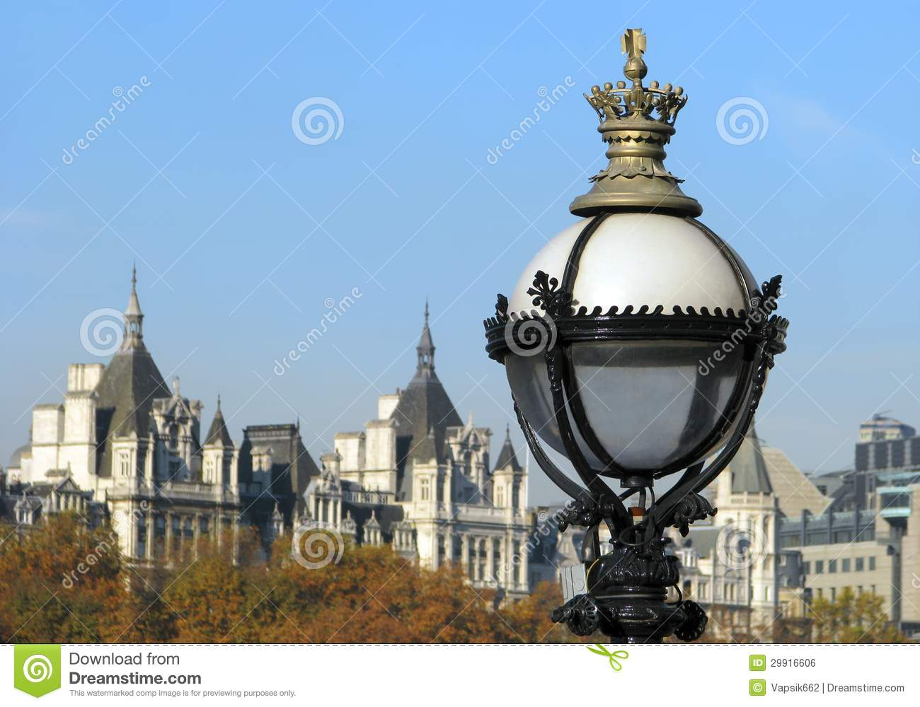 Street Lamp With Cityscape Of London Stock Photo Image