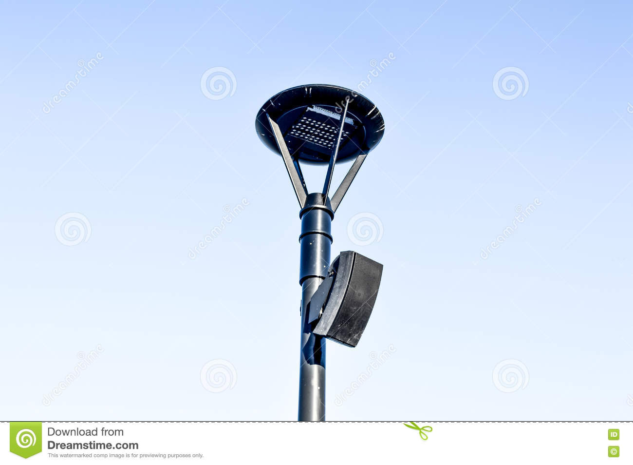 Street Lamp With The Speaker In Blue Sky Stock Image