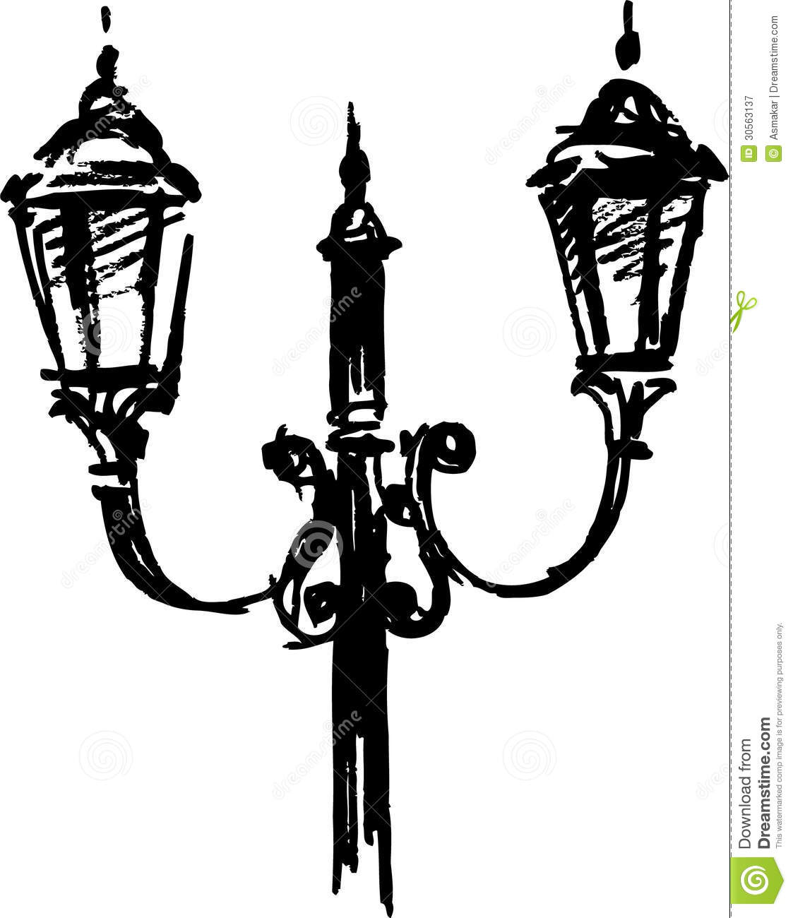 Street lamp stock vector. Illustration of light, dual - 30563137 for Street Light Sketch  75tgx