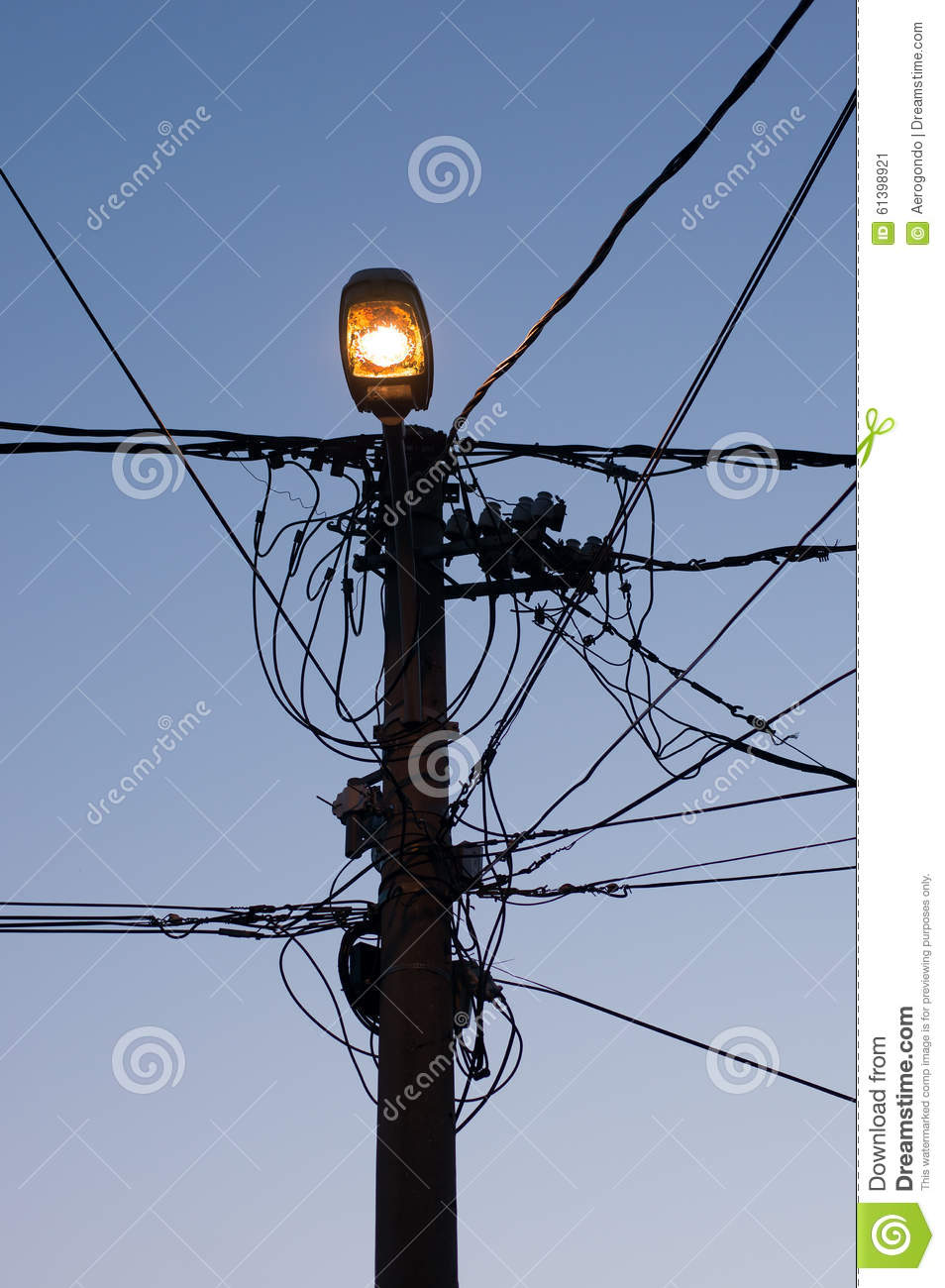 Street lamp and wires stock image. Image of silhouette - 61398921