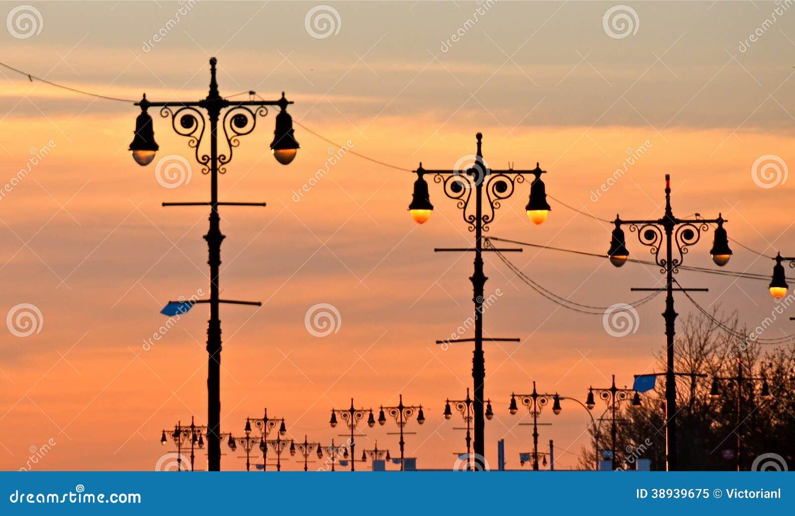 Street lamps of Brighton Beach, New York.