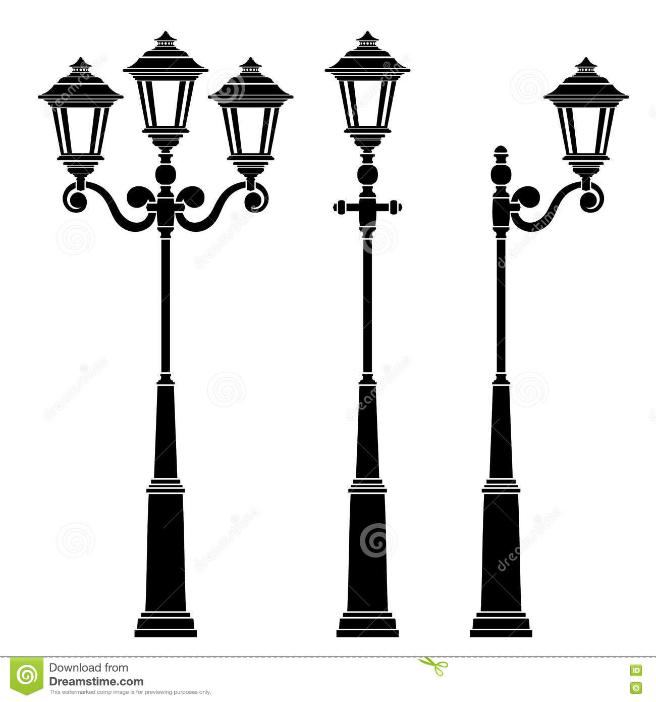 Street lamps collection, stock vector. Illustration of design ... for Street Light Drawing  545xkb