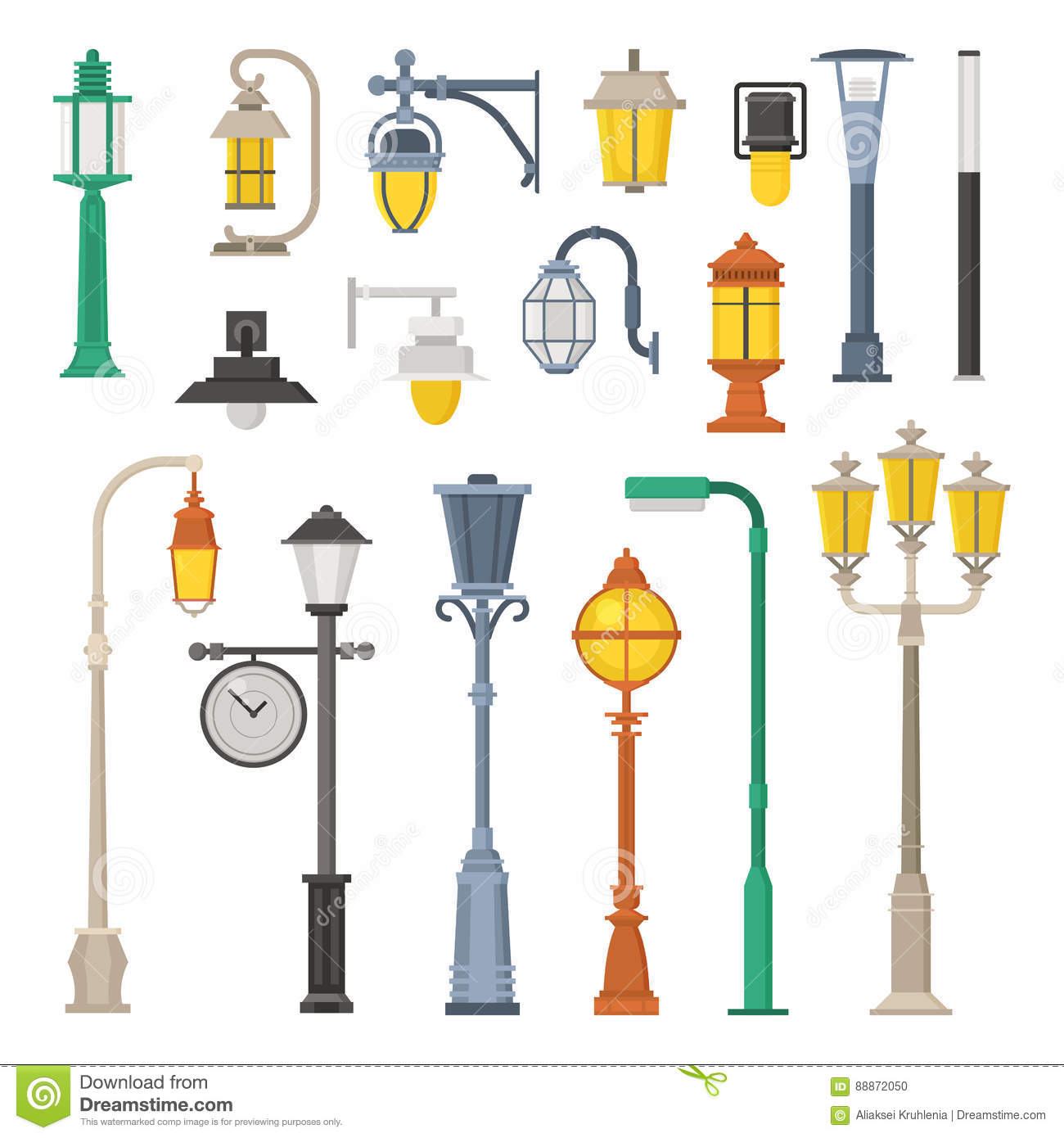 Street Lamps And Lamp Posts Stock Vector - Illustration: 88872050 for Street Lamp Post Design  53kxo