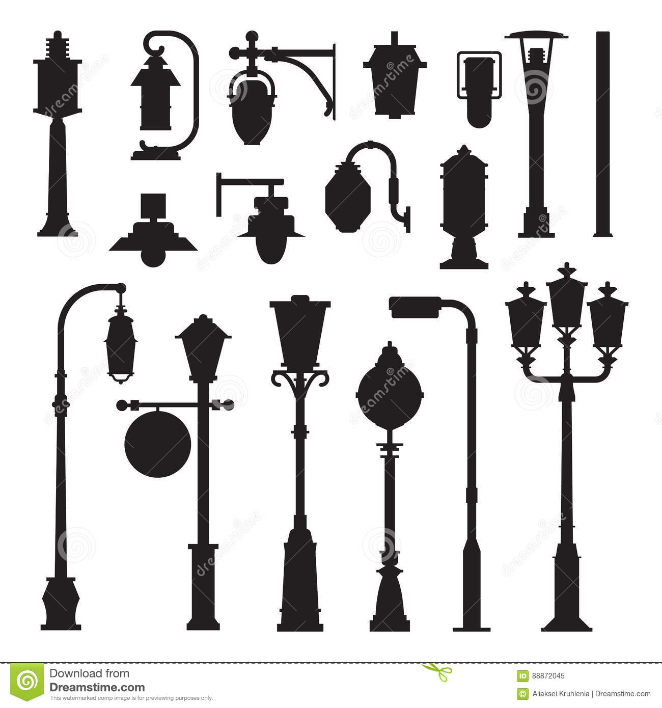 Street Lamps and Lamp Posts Icons